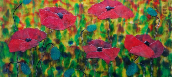Field of Red Poppies in Encaustic Mixed Media Collage
